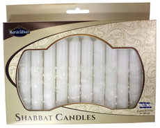 Safed White on White with White Dots Shabbat Candles