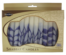Safed Blue and White Tree of Life Shabbat Candles