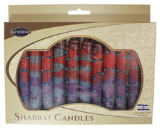 Safed Purple, Maroon and Red Sunrise Shabbat Candles