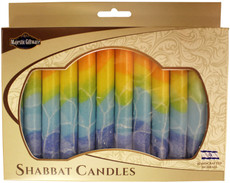Safed Orange, Yellow, Green and Blue Fantasy Shabbat Candles