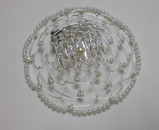 White Beaded Wire Head Covering