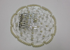 Ivory Beaded Wire Head Covering