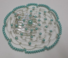 Teal Beaded Wire Head Covering