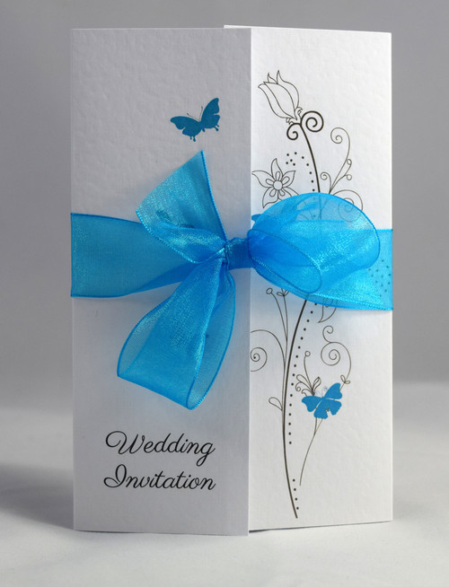 Attractive ... Butterfly Gatefold Wedding Invitations (Organza Ribbon). Blue Teal  Organza