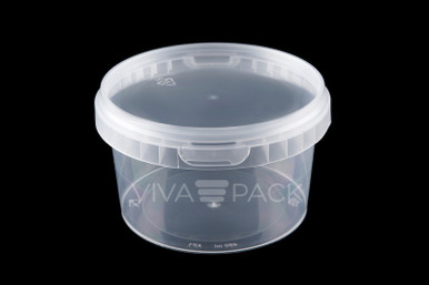 480ml Crystal Clear pot with resealable lid, Material: Polypropylene, Food friendly, tamper proof, 100% leak proof, Microwave, dishwasher and freezer safe.