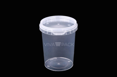 520ml Crystal Clear pot with resealable lid, Material: Polypropylene, Food friendly, tamper proof, 100% leak proof, Microwave, dishwasher and freezer safe.