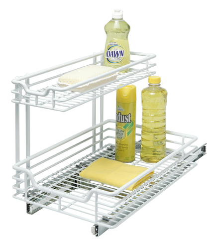 Add extra shelf space with this organizer. Made out of heavy duty chrome metal to last for ages. Ready to install with hardware included.