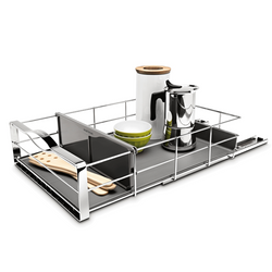 Divided pull-out cabinet organizer features a commercial grade, ball bearing track to help slide out easier. Comes with removable plastic drip guard that protects the cabinets from messy spills.