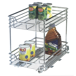 Heavy duty chrome organizer slides out easily to help maximize reach. Fits in majority of cupboards and under the sink. Hardware included.