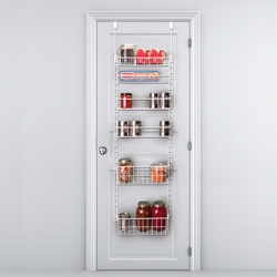 Easily assembled tool-free. Chrome-plated to accommodate any doors decor. Adjustable shelves to maximize your shelf space for you.