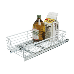 Chrome plated sliding organizers. Baskets easily slide out to extend range. Hardware included and easy to install.