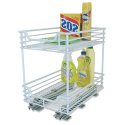 Heavy duty chrome organizer in white. Pulls out to help increase your reach. Hardware included.