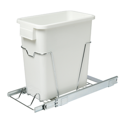 Has a heavy-duty chrome wire caddy that holds the plastic waste bin. Features a smooth ball-gearing sliders that help pull out the garbage can. Easy to install in any standard cabinet.