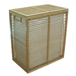 Open-slat bamboo frame allows air flow through the contents of the hamper. Canvas bag easily lifts from the hamper.