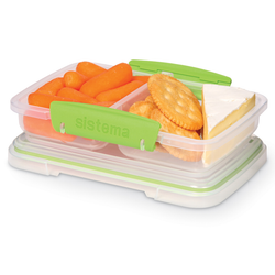 """The green lunch box has two sections. The """"klip-it"""" lid ensures an airtight seal that will keep your ingredients fresh."""