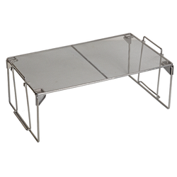 Medium Silver Cabinet Shelf. Made from durable mesh and has a sleek silver finish. They are stackable.
