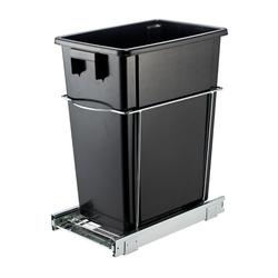 The unit's heavy duty chrome wire caddy cradles the black plastic waste bin, while the smooth ball bearing sliders allow for full extension to ensure quick and easy access.