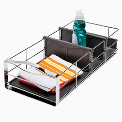 "A commercial grade ball bearing track allows this organizer to glide out of the cabinet, allowing you to retrieve your items with ease. The 9"" organizer features a removable plastic drip guard that protects from messy spills."