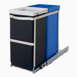 Dual Pull-Out Organizer acts as a trash can and recycling bin. The easy-to-install pull-out recycler glides out thanks to its commercial-grade ball-bearing tracks for easy access.