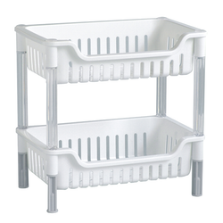 2-Tier stacking baskets are made from durable white plastic. Has an open face design for easy access and identification.