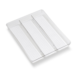 Has 3 large compartments. Features non-skid anti-bacterial silicone lined surface.