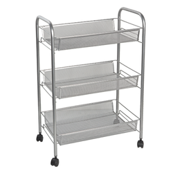 Features Three Wire Mesh Basket Shelves And Four Smooth Gliding Wheels.