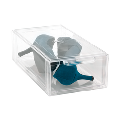 These storage boxes have snap-top lids that help keep items securely in place and are stackable to maximize space. Boxes are clear for easy identification of items.