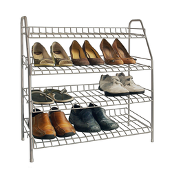 The shoe rack is made from a rubber coated metal, so it's sturdy and easy to clean. The rack clearly displays 12 pairs of shoes for easy access and identification.