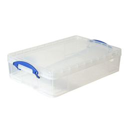 The storage bin comes with two handles for easy lifting and transport. It is also stackable. The box has a removable lid to prevent dust and debris.The bin is clear for easy identification.
