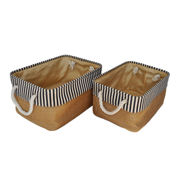 Jute Bin with Blue Trim. Each Jute Bin features 2 sturdy handles for transporting easier.