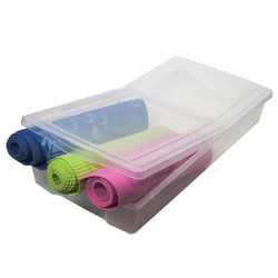 Clear design to help identify items. Integrated handles to make moving the container a breeze. Has the ability to open from both ends thanks to the special lid.