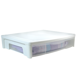 """This modular storage chest features a 6.5"""" tall profile. . It also has a large removable drawer that can organize seasonal clothing or extra linens. The storage boxes can stack for even greater storage capabilities."""