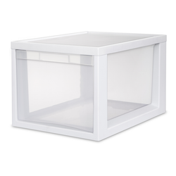 Large. The clear sides make viewing your items easy, while the molded handles allows you to open with ease.