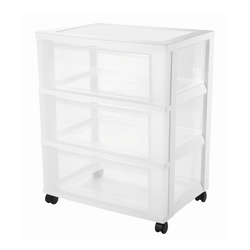 Clear drawer with 3 large compartments. Built-in drawer stopper prevents drawers from falling out when opened. Includes casters for easy mobility.