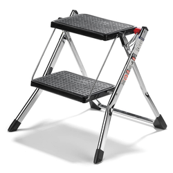 "This 2 step utility stool is 17"" high. Made from durable still, chip and rust-resistant. Each step is covered in black, non-skid plastic mat. The stool features a self-locking device that simply clicks automatically when the steps are unfolded."
