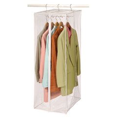 Features sturdy clear vinyl, nylon zippers and a strong hook system to protect your clothes from dust and dirt. A zippered opening makes it easy to access your garments.