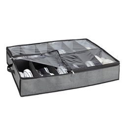 Features handles and a collapsible design.  Can sustain up to 12 pairs of shoes. It is clear for easy identification and has a zipper to open and close organizer.