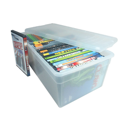 Made from polypropylene which is acid free. Media box can hold 57 CD's, 26 DVD's or 15 VHS tapes.