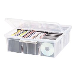 This plastic storage container features a snap-down lid and plastic adjustable dividers that will hold up to 30 VHS tapes, 54 DVD's or 120 CD's.