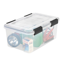 -Weathertight seal protects items from moisture, dust and pests -Grooves in lid ensure boxes are secure when stacked -Four extra-durable latches keep lid securely attached -Stack with like and similar sizes for a customized storage solution