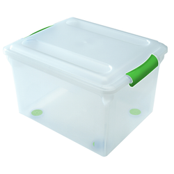 The clear body and lid allow you to easily identify the contents of each box. It can accommodate letter sized files or legal sized files.