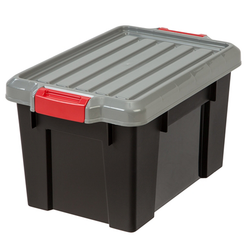 Extra Large. The totes have a reinforced body and lid. It features a heavy-duty buckle that keeps lid securely attached to opaque body | Solutions Store | IRIS