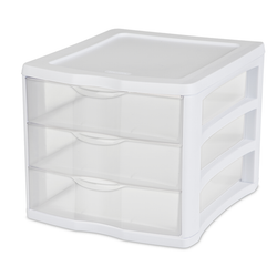Features 3 clear drawers for easy identification of items. Stacks with other units to create a multi-unit drawer system.