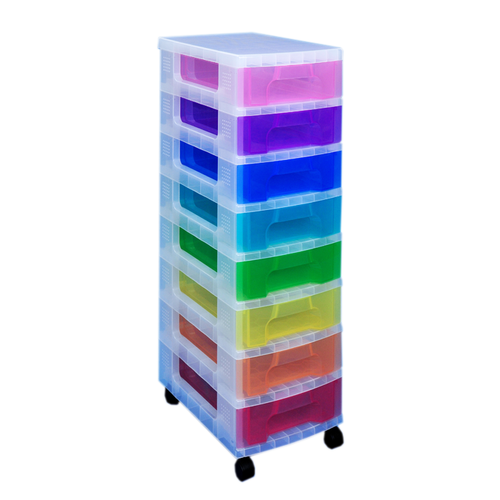 Made from durable plastic. Has 8 drawers and features casters for easy mobility.
