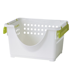 This semi-open basket is great to keep your items securely in place while being easily accessible. The baskets are stackable so you can create your own storage unit.