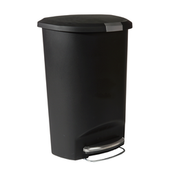It has a strong steel pedal that is designed to last, and our patented lid shox technology ensures a smooth, silent close every time. A slide lock helps keep trash in and pets and curious children out.