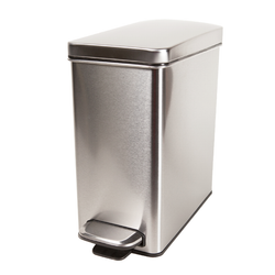 Made from stainless steel. Features lid shox technology ensuring a silent close every time. It has a removable inner bucket that is grocery bag compatible.