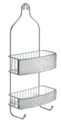 "Caddy has 2 shelves and 2 chrome hooks for holding scrub burhses or washcloths. Has an attractive ""rain"" textured pattern."