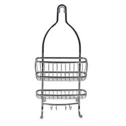 Featuring a rugged metal wire construction. The convenient design simply hangs from your shower head. The caddy has two spacious basket style shelves.