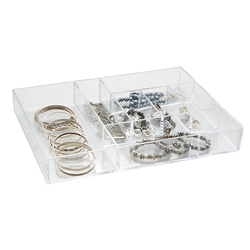 Made from clear acrylic. Clear for easy identification of items. The organizer has 7 compartment for beauty essentials.